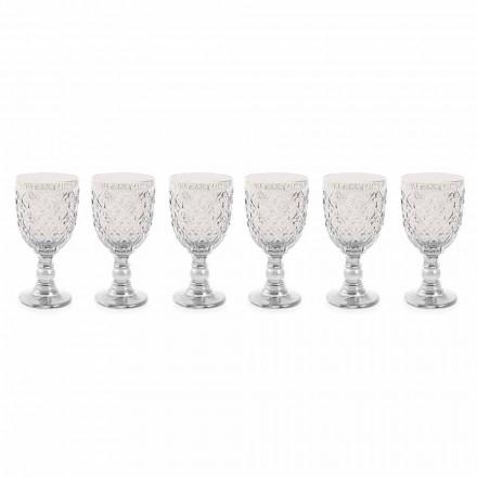 Transparent glas vinglas med arabesk dekoration 12 stykker - Marokko