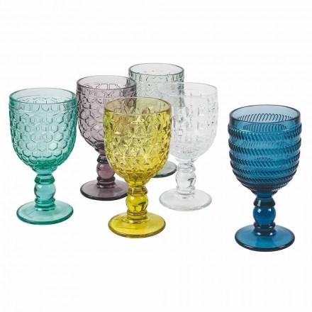 Dekoreret bæger med farvet glas Vand- eller vintjeneste 12 stykker - bland