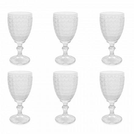 Vinbriller i gennemsigtigt glas og reliefdekorationer, 12 stykker - Aperi