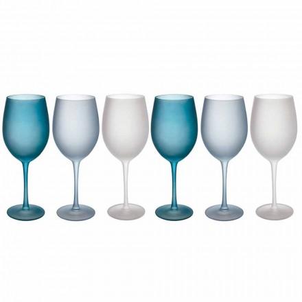 Farvede vinglas i frostet glas med iseffekt, 12 stykker - efterår