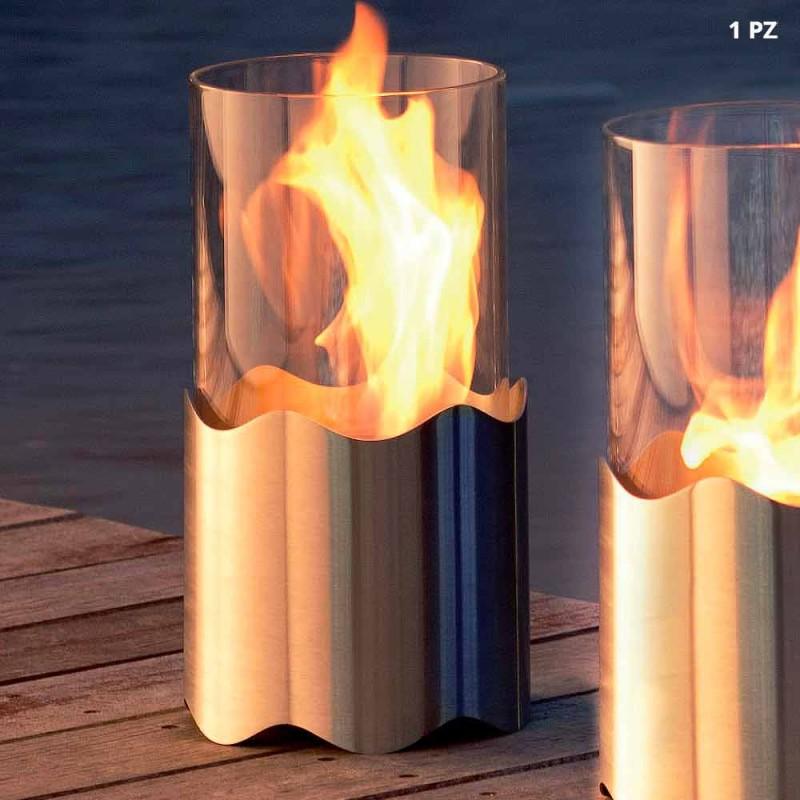 Bioethanol pejs med rustfrit stål bord og glas Leon, fremstillet i Italien