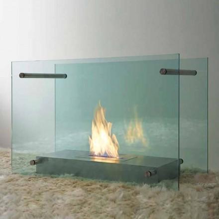 Gulv Bioethanol Pejs i glas og stål design til indendørs - Edison