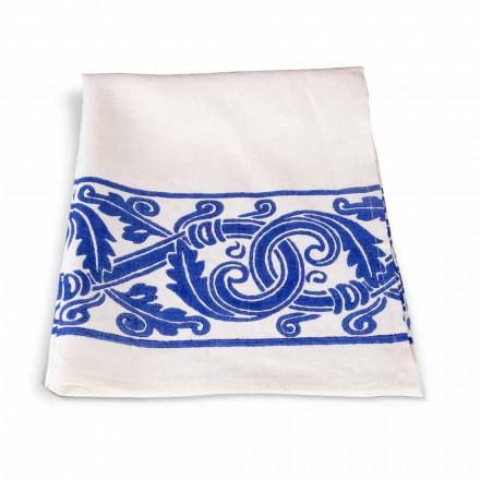 Italiensk håndlavet linnedduk med håndtrykt tegning