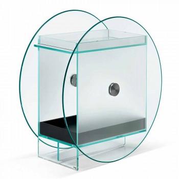 Barvogn i ekstra klart glas med hjul og udtrækkelig bakke - Pigolo