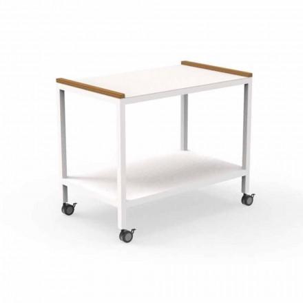 Udendørs køkkenvogn i aluminium og teak 2 hylder - Vogn af Talenti