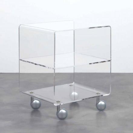 Multiuse trolley i gennemsigtige methacrylat 4 rum og fælge Rob