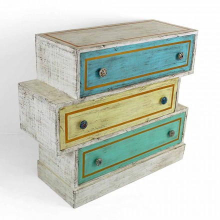 Kommode med farvede skuffer og keramiske drejeknapper fremstillet i Italien - Hendriks