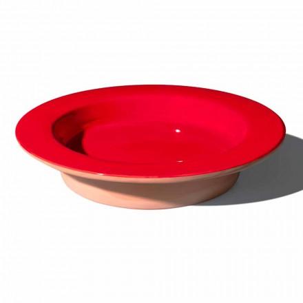 Rundt midtpunkt i terracotta og glaseret keramik fremstillet i Italien - Brooke