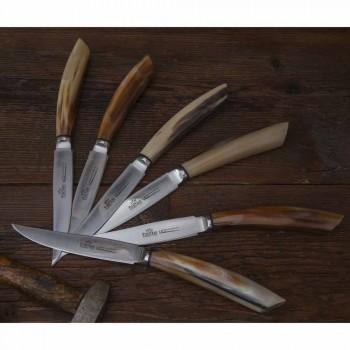 Blok i oliventræ med 6 bøfknive fremstillet i Italien - blok