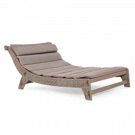 Udendørs teaktræ chaiselong med indlæg fra homemotion - Giobbe