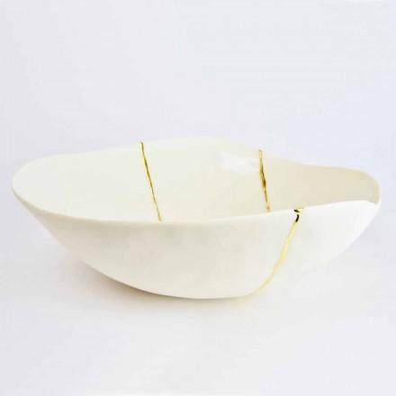 Skåle i hvid porcelæn og guldblad italiensk luksusdesign - Cicatroro