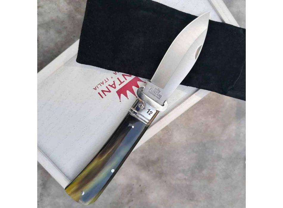 Antik håndværkskniv med horn eller træhåndtag fremstillet i Italien - Mugello