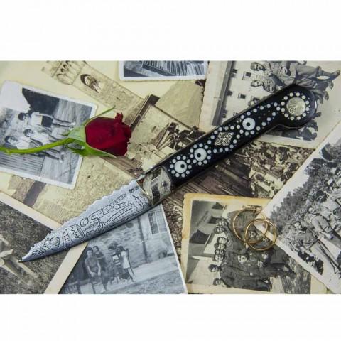 Antik håndlavet kærlighedskniv i horn og stål fremstillet i Italien - Amour