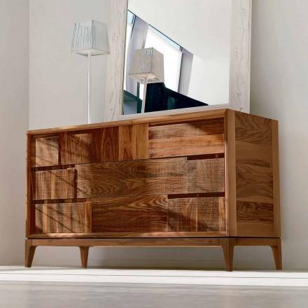 Dresser 3 skuffer moderne design i massiv valnød, Nino