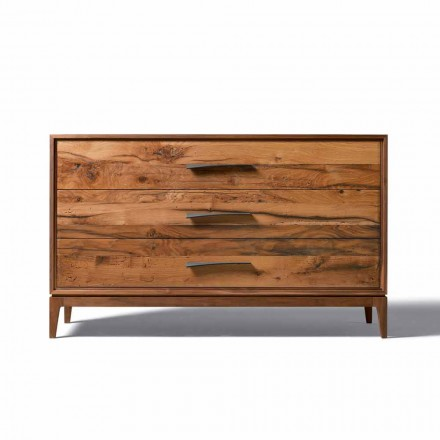 Dresser 3 skuffer valnød moderne design, L 131 x B 55 x H 80 cm, Sandro
