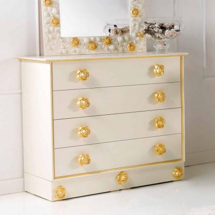 Dresser 4 skuffer designe med træ knopper i form af roser Renoir