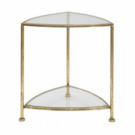 Moderne design trekantet sengebord i jern og glas - Kira