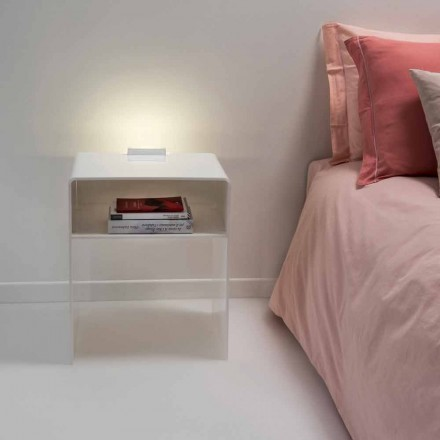Sengebord med hvid LED lys lyser berøring Adelia