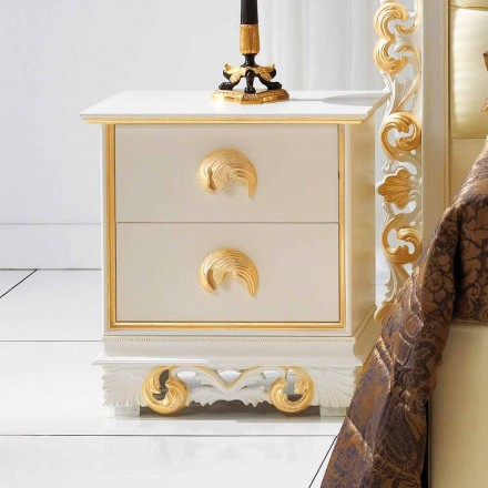 designe natbord i træ med 2 skuffer Zucchi, lavet i Italien