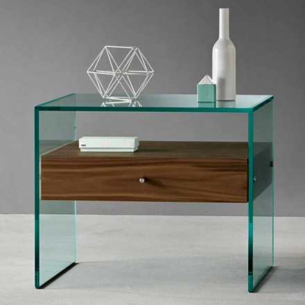 Sidebord i moderne design i Extraclear Glas fremstillet i Italien - Segreto