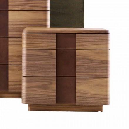 Massivt træ natbord med moderne design Grilli York lavet i Italien