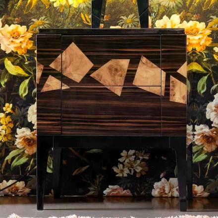 Sengebord i valnød og ibenholt træ Grilli Zarafa lavet i Italien