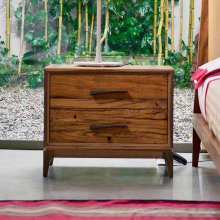 Nutidige sengebord 2 skuffer antikke oak, P L 60 x 42 cm, Margo