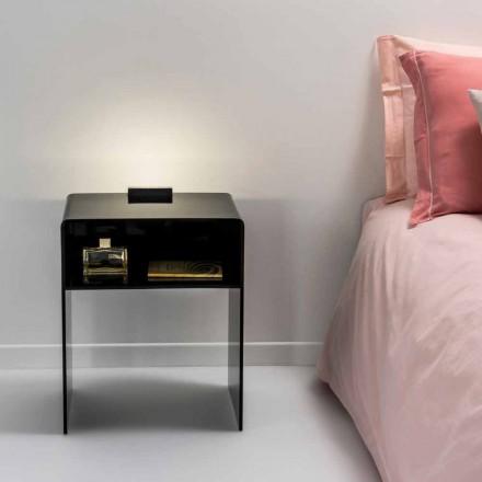 Sort natbord med LED-lys lyser at Tocco Adelia, lavet i Italien