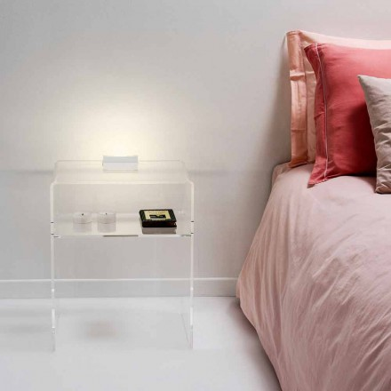 Sengebord med gennemsigtig LED lys lyser berøring Adelia