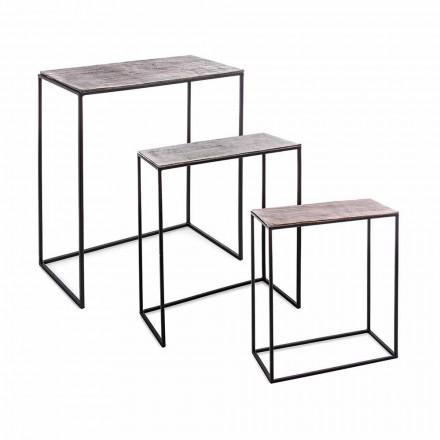 Sammensætning 3 kaffeborde i aluminiums- og stålhæmning - Salvio