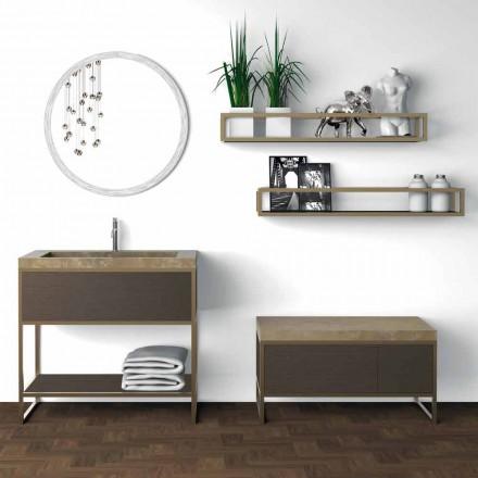 Sammensætning 5 Fritstående badeværelsesmøbler i metal, Ecolegno og luksusstentøj - Cizco