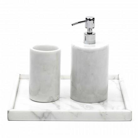Sammensætning tilbehør til badeværelset i hvid Carrara-marmor fremstillet i Italien - Tuono