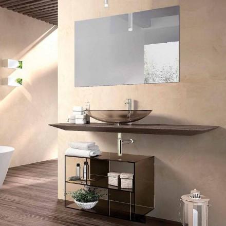 Design badeværelsesmøbler sammensætning i træ, bronzeret krystal og spejl - tonal