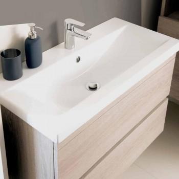 Suspenderet badeværelse møbelsammensætning i Oak Melamine - Becky