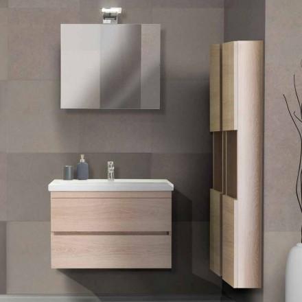 Badeværelse Skab 80 cm, håndvask, spejl og 2 søjler - Becky