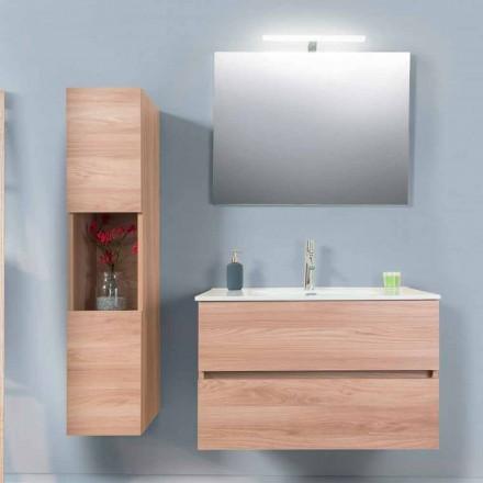 Badeværelse Skab 90 cm, Wah håndvask, spejl og søjle - Becky