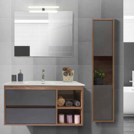 Badeværelseskab 100 cm, håndvask, spejl og søjle - Becky