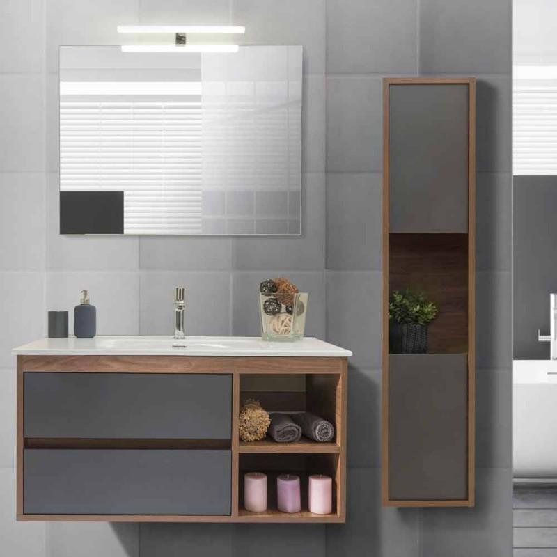 Moderne suspenderet badeværelseskomposition i Melamine og MDF - Becky