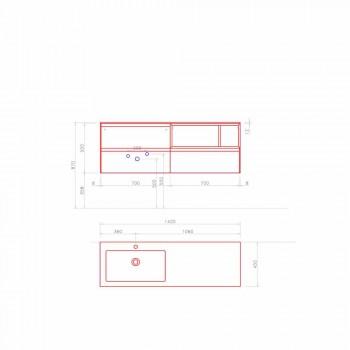 Badeværelsesmøblersammensætning, moderne og suspenderet design lavet i Italien - Callisi8