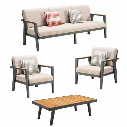 Udendørs komposition 3-personers sofa, 2 lænestole og sofabord - Moira