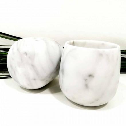 Sammensætning af 2 briller i hvid Carrara marmor fremstillet i Italien - Dolla