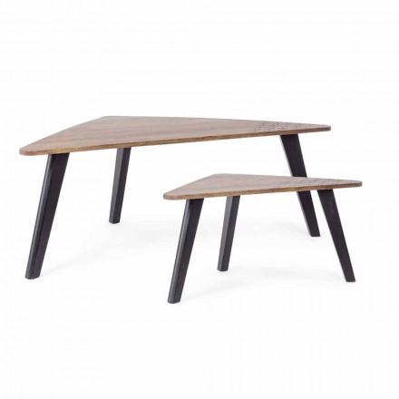 Sammensætning af 2 moderne kaffeborde i træ Homemotion - Nigola
