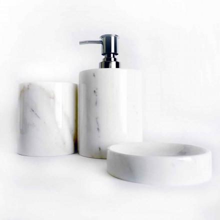 Sammensætning af 3 badeværelsestilbehør i poleret marmor fremstillet i Italien - Trevio