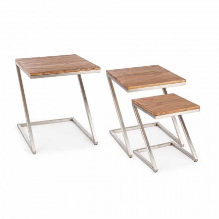 Sammensætning af 3 Homemotion firkantede kaffeborde af træ - Fonzi