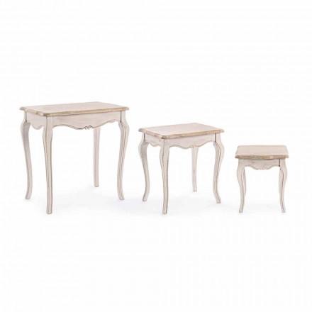 Sammensætning af 3 klassiske designtræ kaffeborde Homemotion - Classic