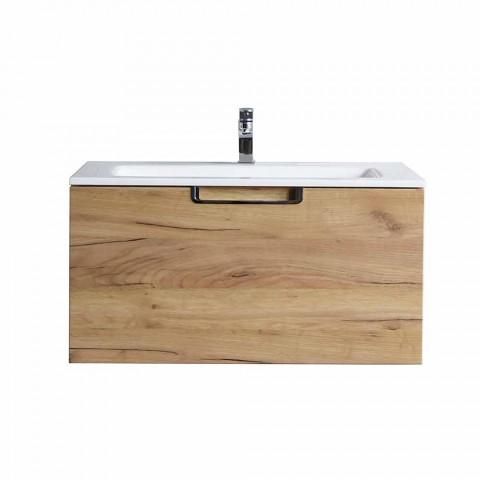 Badeværelse forfængelighed skab sammensætning i træ og moderne design spejl - Gualtiero