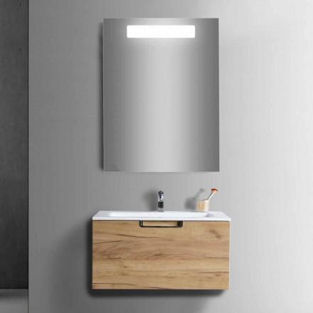 Badeværelse forfængelighed kabinet sammensætning i træ og moderne design spejl - Gualtiero
