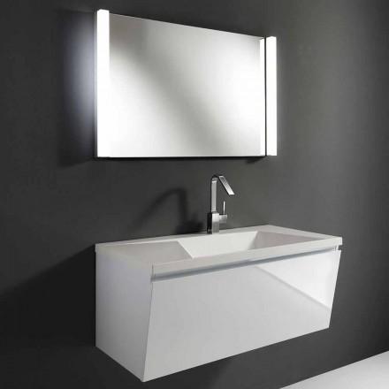 Hvid moderne ophængt badeværelse møbelsammensætning med LED spejl - Desideria
