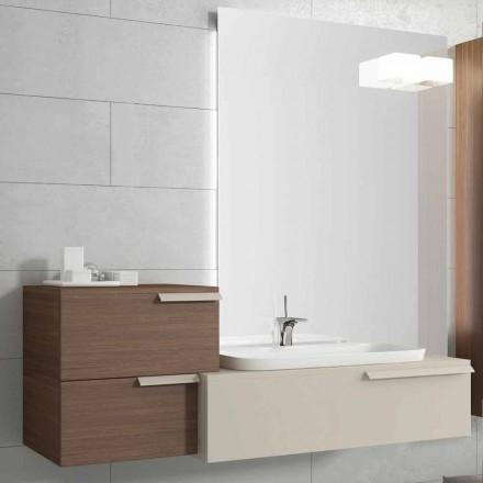 Ophængt badeværelsesmøbel design komposition Glad gelagt træ Glad