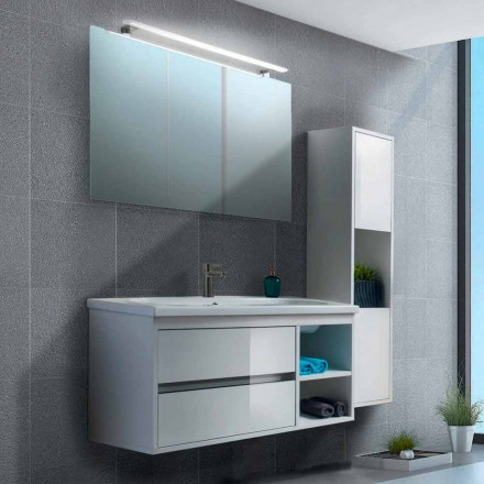 Badeværelseskab 100 cm, spejl, håndvask og søjle - Becky